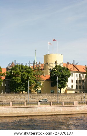Riga castle - residence of the President of Latvia. View from the river