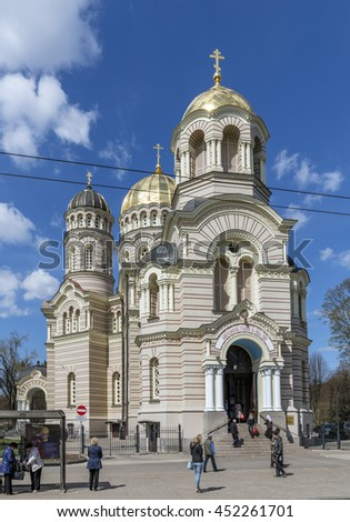 Riga, Latvia - April 29, 2016: Entrance of the orthodox cathedral in Riga, capital of Latvia. Riga is the largest city of the Baltic states and home to one third of Latvia's population