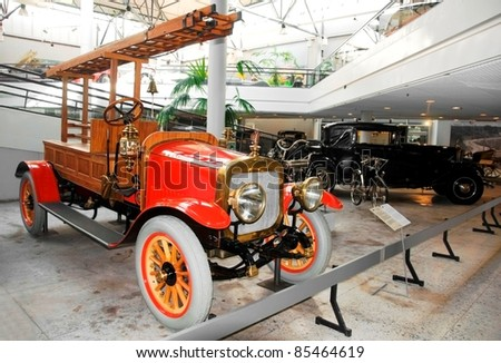 RIGA, LATVIA - AUGUST 3: A Russo-Balt firetruck, built in 1910, is a unique vehical and is the only one in the world. It is fully renovated and on exhibit at the Riga's Motor museum on August 3, 2011 in Riga, Latvia.