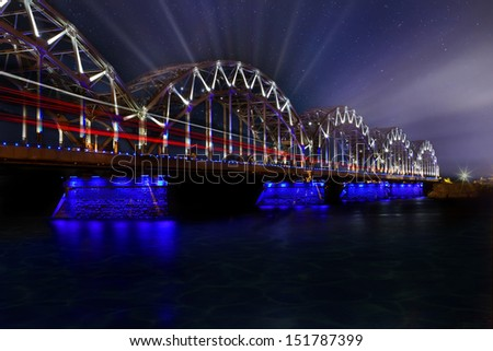 Riga Latvia bridge - stock photo