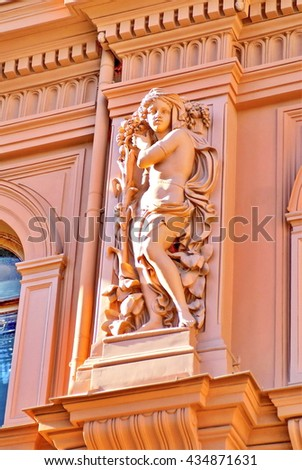 RIGA, LATVIA - CIRCA MAY 2012: Decoration on the side of the Riga Bourse building in the Venetian Palazzo style
