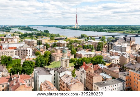 Riga, Latvia, cityscape view from the terrace of Academy of Sciences - stock photo