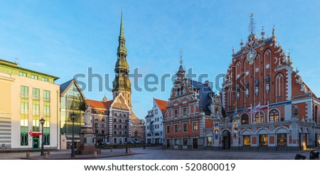 Riga, Latvia - December 5, 2013: panorama of the Town Hall Square in the old town