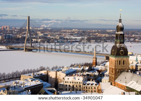Riga, Latvia, Downtown view from the Sant Peter cathedral - stock photo