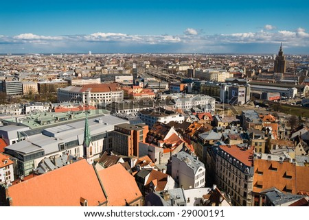 Riga, Latvia, downtown view from the st.Peater cathedral - stock photo