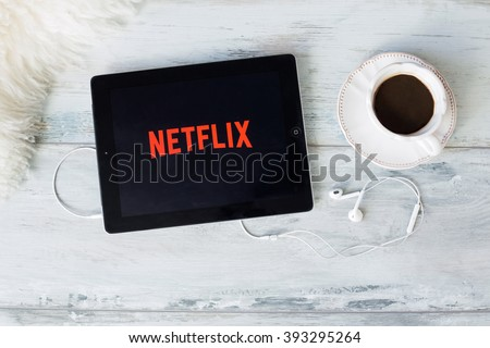 RIGA, LATVIA - FEBRUARY 17, 2016: Netflix is a global provider of streaming movies and TV series.