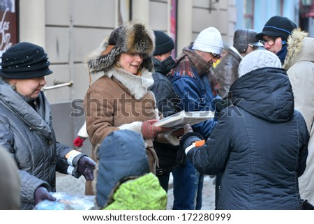 "Riga, Latvia- January 18, 2014: Campaign "" Light path"" - chain of book friends."