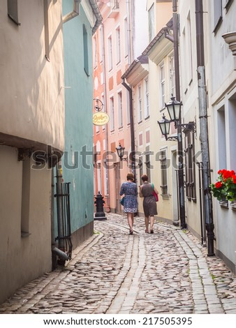 RIGA, LATVIA - JULY 07, 2014: Architecture in the Old Town of Riga, Latvia. The Old Town is a big tourist attraction.