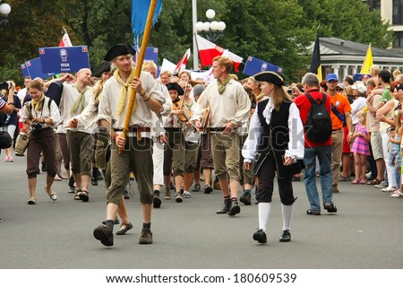 RIGA, LATVIA -  JULY 27: Crew Parade during the  second stage of the World Cup The Tall Ships Races 2013 in Riga,  paraded through the streets of Riga, Latvia, July 27, 2013