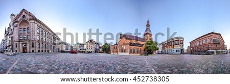 RIGA, LATVIA - JULY 10, 2016: 360 degree panoramic Skyline view of Riga old town Dome Square During Dawn time. Montage from 47 HDR images - stock photo