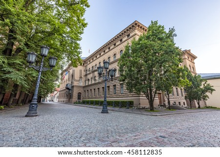RIGA, LATVIA - JULY 10, 2016: Main Building of the Saeima - parliament of the Republic of Latvia in Riga Old City at Corner of Jekaba and Klostera Streets. - stock photo