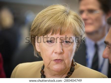 RIGA, LATVIA - May 22, 2015: Eastern Partnership Sammit. Chancellor of the Federal Republic of Germany Angela Merkel  - stock photo