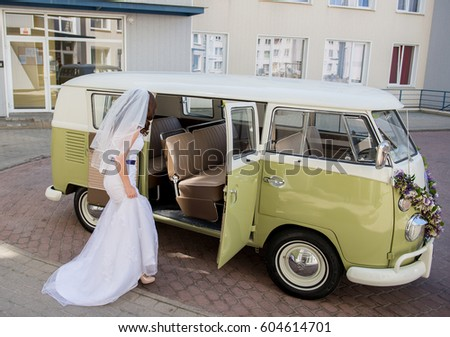 Vintage Wedding Bus Stock Images Royalty Free Vectors