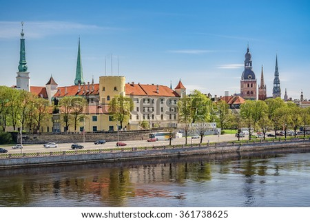 Riga, Latvia - May 14, 2013: View of Riga castle and old town. Castle was founded in 1330 by Livonian order.