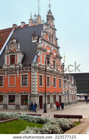 RIGA, LATVIA - NOVEMBER 03, 2014: House of the Blackheads. The original building was erected during the first third of the 14th century for the Brotherhood of Blackheads.