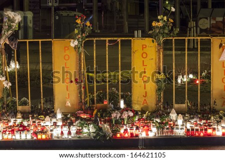 Riga, Latvia - 25 November 2013: Third day of National Mourning in Baltic Countries after roof of Maxima supermarket in Riga, Latvia unexpectably collapsed killing 51 people.