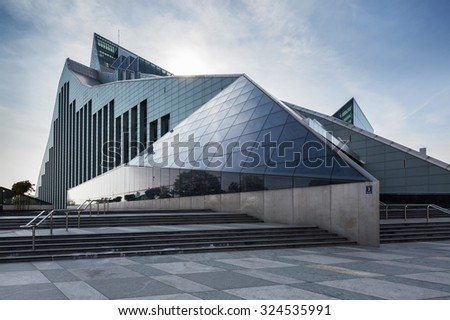 Riga, Latvia - OCTOBER 4, 2015: New Building of National Library of Latvia, known also as Castle of Light