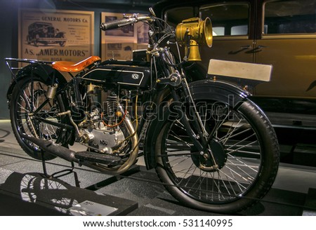RIGA, LATVIA - OCTOBER 16: Retro motorcycles of the year 1928 NSU 251R Riga Motor Museum, October 16, 2016 in Riga, Latvia