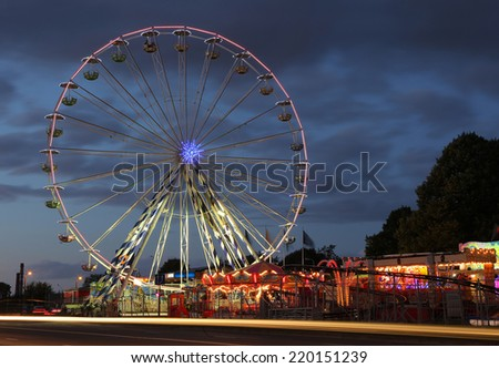 Riga, Latvia- September 27, 2014: Ferris wheel  at night. Located in the centre of Riga, Latvia on September 27, 2014. Riga is European Capital of Culture 2014.
