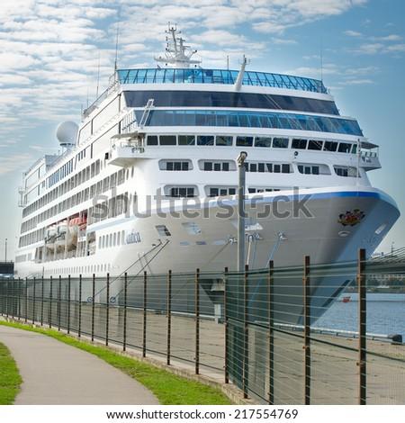 RIGA, LATVIA - SEPTEMBER 8: Nautica, Oceania's Cruises ship in Riga sea port on September 8, 2014 in Riga, Latvia. MS Nautica is a cruise ship, built by Renaissance cruises as part of their R class. - stock photo
