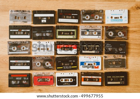 RIGA - 10 OCTOBER, 2016: Collection of Retro Audio Tapes, Top View