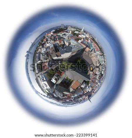 Riga old town skyline view from above, 360 degree miniplanet (Elements of this image furnished by NASA) - stock photo