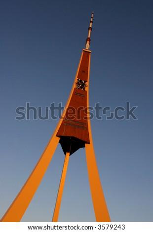 Riga Radio and TV Tower at the evening (Riga, Latvia) - stock photo