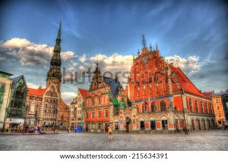 Riga Town Hall (Albert) Square - Latvia - stock photo