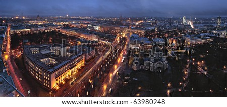 Riga view in nigh time. - stock photo