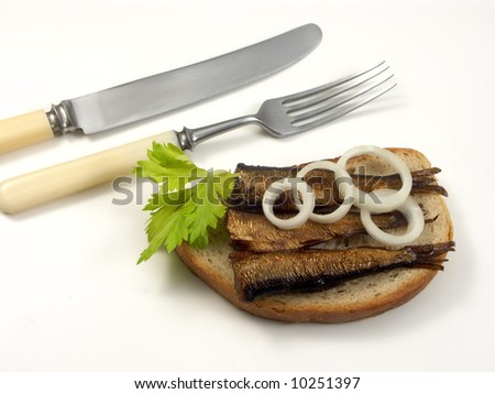 Rigas sprats baked in oil on white background with salad - stock photo