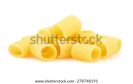 Rigatoni italian pasta isolated on white background - stock photo