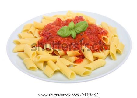 Rigatoni pasta dish with tomato sauce - stock photo