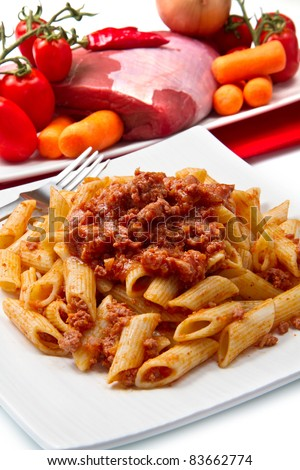 Rigatoni pasta with a tomato beef sauce - stock photo