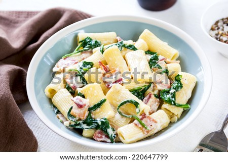 Rigatoni with Bacon and Spinach cream sauce - stock photo