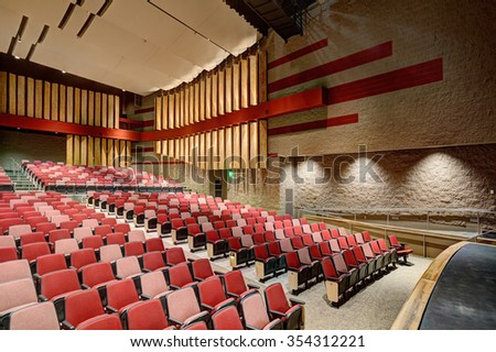 Rigby, Idaho, USA, Nov. 19, 2013  A modern theater with a state and rigging in a new high school. - stock photo