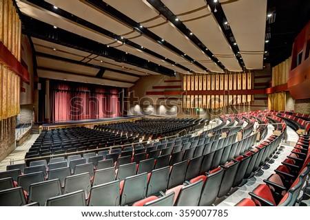 Rigby, Idaho, USA Sep. 13, 2014 A modern theater in a high school - stock photo
