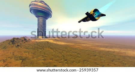 RIGEL 7 - A spacecraft nears a space port on another planet. - stock photo