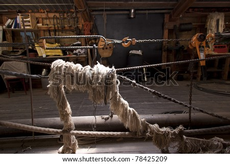 Rigging in the harness-room at the Batavia wharf - stock photo