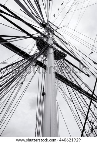 Rigging of an old clipper. - stock photo