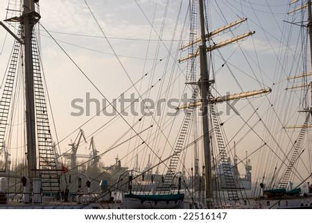 Rigging of an Sailing ship - stock photo