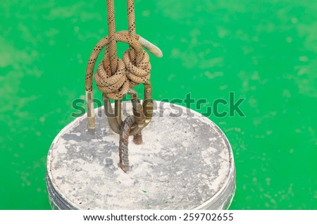 rigging on green background - stock photo