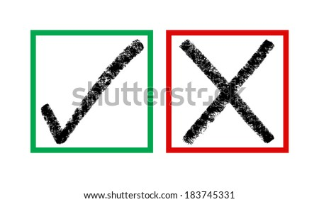 right and wrong check mark signs - stock photo