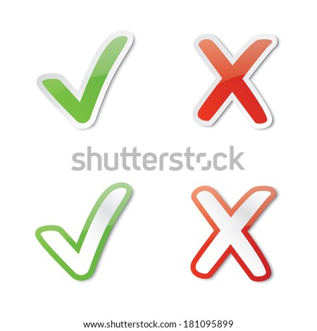 Right and wrong mark illustrations (rasterized version). - stock photo