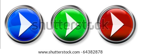 Right Arrow 3-D RGB Buttons - stock photo