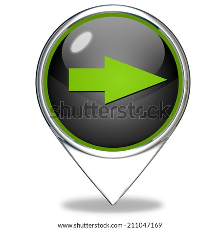 Right Arrow pointer icon on white background