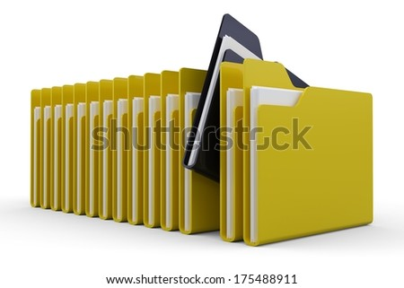 Right black folder between the yellow folders. 3D illustration isolated on white background - stock photo