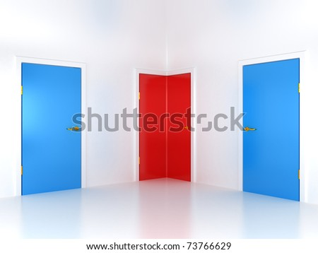 Right choice: conceptual corner door in abstract room - stock photo
