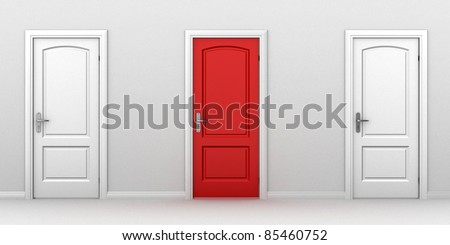 right choice red door concept - stock photo