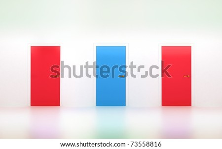 Right choice: three conceptual doors in abstract room - stock photo