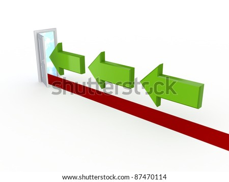 Right direction concept.Isolated on white background.3d rendered. - stock photo